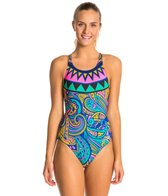 Triflare Women's Orange Medallion Bladeback One Piece