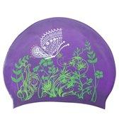 Sporti Butterfly Meadow Long Hair Silicone Swim Cap