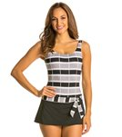 Jag Ipanema Stripe Skirted Tank One Piece Swimsuit