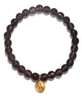 Satya Jewelry Smokey Quartz w/ Golden Lotus Beaded Bracelet
