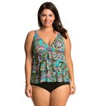 Penbrooke Plus Size Gypsy Triple Tier Tankini Top