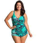 Penbrooke Plus Size Dot Petals Cross Over Sarong One Piece Swimsuit