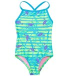 TYR Girls' Flamingo Stripe Diamondfit One Piece Swimsuit (4yrs-16yrs)