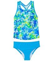 Speedo Girls' Tie Dye Splash Keyhole Tankini Two Piece Swimsuit (7yrs-16yrs)