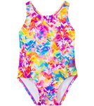 Speedo Girls' Printed Racerback One Piece with Snap Bottom (12mos-3T)
