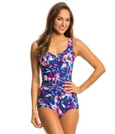 Maxine Lily Pop Shirred Front Girl Leg One Piece Swimsuit