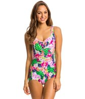 Maxine Paradise Palms Shirred Front Girl Leg One Piece Swimsuit