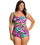 Maxine Plus Size Tropic Dreams Sirred Front Girl Leg One Piece Swimsuit