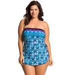 Maxine Plus Size Diamond Kisses Bandeau Sarong One Piece Swimsuit