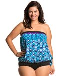Maxine Plus Size Diamond Kisses Bandeau Blouson Tankini Top