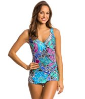 Maxine Tahitian Floral Surplice Hard Cup Sheath One Piece Swimsuit