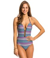 Kenneth Cole Go For The Gold Plunge One Piece Swimsuit