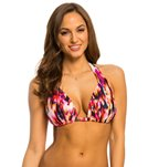 Kenneth Cole Floral Explosion Triangle Halter Bikini Top (D Cup)
