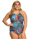 Kenneth Cole Plus Size Bohemian Babe High Neck One Piece Swimsuit