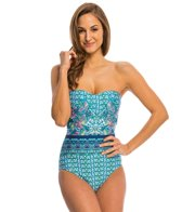 Kenneth Cole Reaction Scarfs on Deck Bandeau One Piece Swimsuit