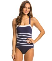 Nautica Swimwear Signature Strapping One Piece Swimsuit