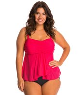 Fit4U Swimwear Plus Size Boy Meets Girl Flared Bandeau Tankini Top