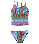 Hobie Girls' Swimwear Sun Daze Stripe Hanky Tankini Set (7yrs-14yrs)