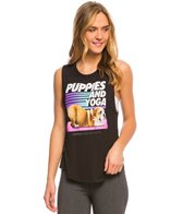 Puppies Make Me Happy Puppies & Yoga Workout Tank Top