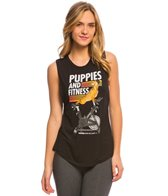 Puppies Make Me Happy Puppies & Fitness Layering Muscle Workout Shirt