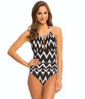 La Blanca Night Waves High Neck Halter One Piece Swimsuit