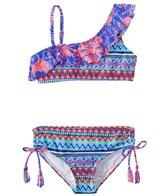 Raisins Girls' Flower Riot One Shoulder Ruffle Two Piece Bikini Set (7yrs-16yrs)