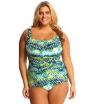 T.H.E Plus Size Mastectomy Emerald Reef Shirred Girl Leg One Piece Swimsuit