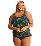 Topanga Mastectomy Plus Size Electric Tropics Tank Strap Blouson Tie Side Top