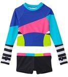 Limeapple Swimwear Girls' Surf Colorblock Rash Guard Set (4yrs-16yrs)