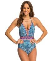 Nanette Lepore Indigo Paisley Goddess Halter One Piece Swimsuit