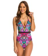 Nanette Lepore Bali Batik Goddess Halter One Piece Swimsuit