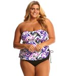 Delta Burke Plus Size Ziggy Gromment Tankini Two Piece Set