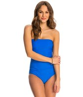 Ceeb Solid Soft Cup Bandeau One Piece Swimsuit