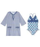 Cabana Life Girls' UPF 50+ Coastal Crush One Piece Swimsuit & Cover Up Set (7-14yrs)