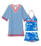 Cabana Life Girls' UPF 50+ Oceana Two Piece Swimsuit & Terry Tunic Set (7-14yrs)