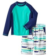 Cabana Life Boys' UPF 50+ Shark Stripe Swim Shorts & Rashguard Set (8-14yrs)