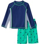 Cabana Life Boys' UPF 50+ Green Marlin Swim Shorts & Rashguard Set (2T-7yrs)