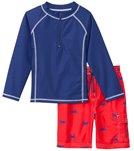 Cabana Life Boys' UPF 50+ Red Crab Swim Shorts & Rashguard Set (2T-7 yrs)