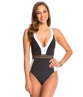 Kenneth Cole Stompin In My Stilettos Racerback Plunge One Piece Swimsuit
