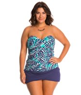 Anne Cole Plus Size Best Fronds Forever Bandeau Tankini Top