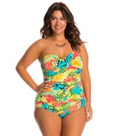 Anne Cole Plus Size Island Time Bandeau One Piece Swimsuit