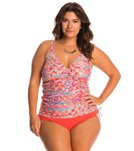 Sunsets Plus Size Andalusia Shirred Tankini Top (D/DD Cup)