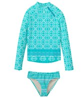 Cabana Life Kids Girls' Monoco Blue Rashguard Swim Set (2T-6X)