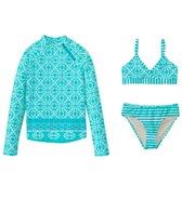 Cabana Life Kids Girls' Monoco Blue Bikini Rashguard Swim Set (7-14)