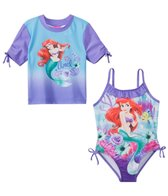 Disney Girls' Little Mermaid Rashguard & One Piece Swimsuit Set (2T-4T)