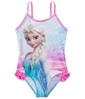 Disney Girls' Frozen Ruffle One Piece Swimsuit w/Free Goggles (4-6X)