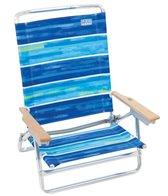 Rio Brands Boho Beach Blue Stripe 5-Position Lay Flat Beach Chair