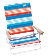 Rio Brands Denim Nation Red, White, and Blue Stripe Classic 5-Position Lay Flat Beach Chair