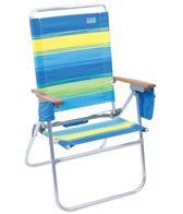 Rio Brands The Hi-Boy Blue and Green Striped Beach & Backyard Chair