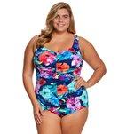 Maxine Plus Size Azela Shirred Girl Leg Spa Chlorine Resistant One Piece Swimsuit